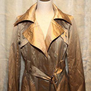 Bebe Metallic Gold Trench Coat Jacket